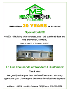 Meadow's Buildings Celebrating 20 Years in Business