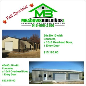 Meadow's Buildings Fall Specials